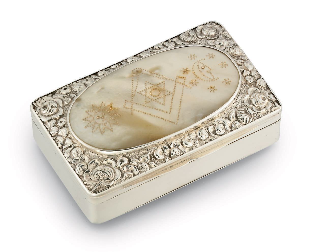 A GEORGE III SILVER AND MOTHER-OF-PEARL SNUFF-BOX