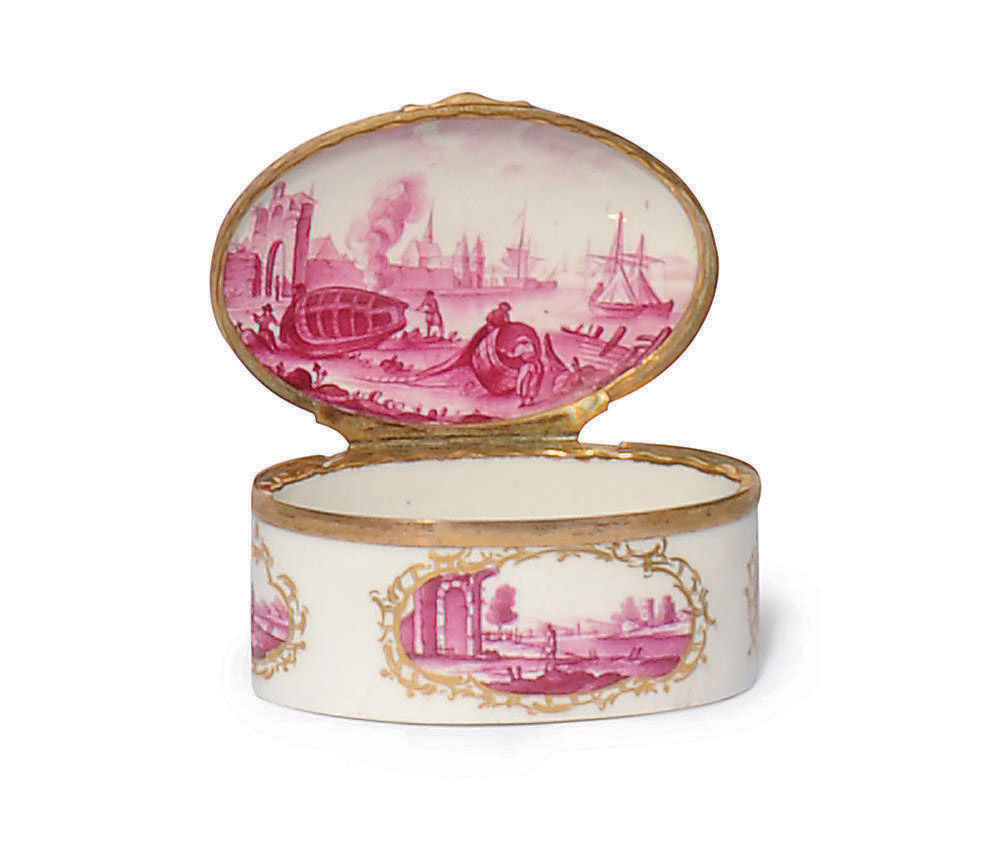 A LUDWIGSBURG GILT-METAL MOUNTED OVAL SNUFF-BOX AND COVER