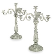 A PAIR OF GEORGE IV SILVER FOUR-LIGHT CANDLEABRA