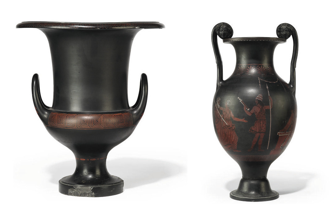 Two Wedgwood Black Basalt Encaustic Decorated Two Handled Vases