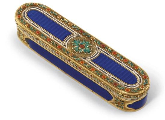 A LOUIS XVI ENAMELLED GOLD TOO