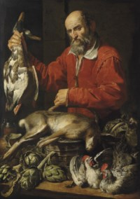 The Gamedealer: A bearded man in a red coat holding a pair of mallard ducks in one hand by a basket with a hare, artichokes, a flagon and a cabbage