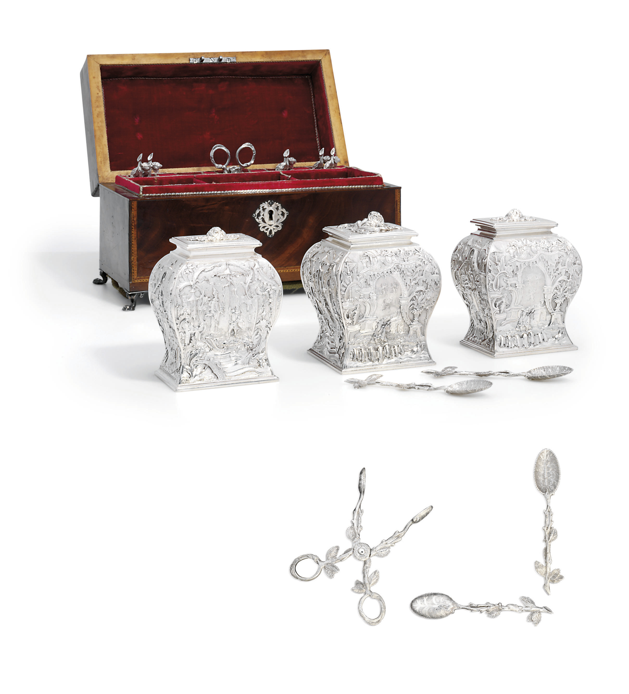 A SET OF THREE GEORGE II SILVER TEA-CADDIES WITH EIGHT TEA-SPOONS AND A PAIR OF SUGAR-TONGS EN SUITE