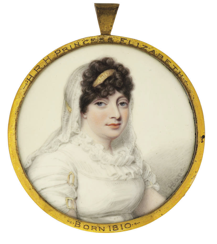 Princess Elizabeth (1770-1840), in white muslin dress with white double-frilled collar and gold double clasps on her sleeves, white veil and golden bandeau with greek-key pattern in her upswept curling brown hair