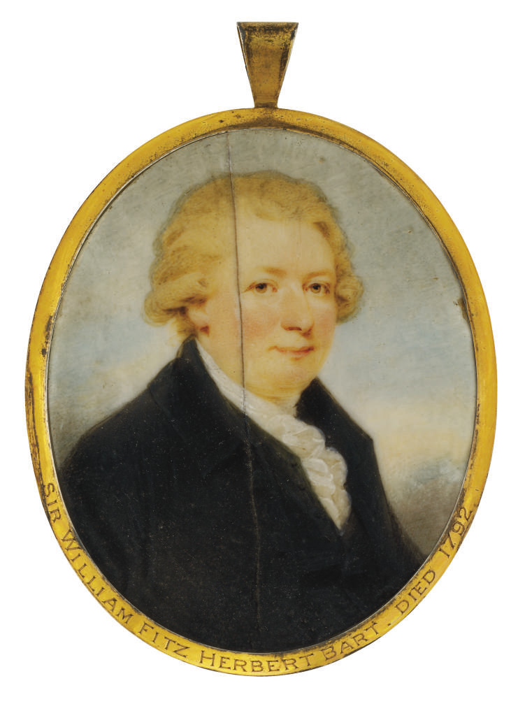 Sir William FitzHerbert, 1st Bt. (1748-1791), in black coat, waistcoat and white frilled cravat; sky background