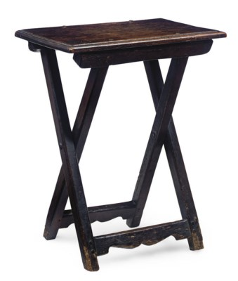A FRENCH OAK FOLDING TABLE