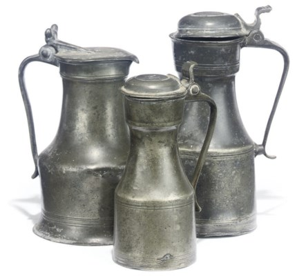 TWO SCOTTISH PEWTER 'TAPPIT-HE