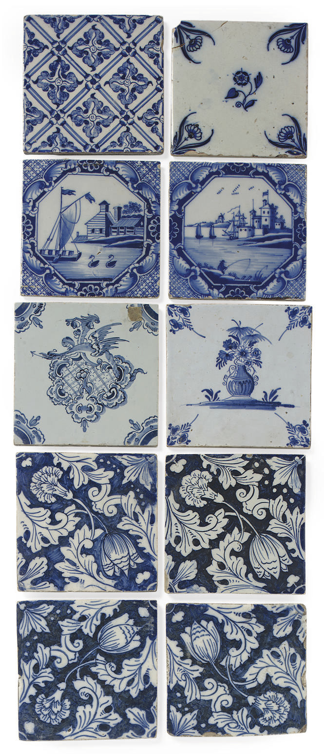 TEN ENGLISH DELFT BLUE AND WHI