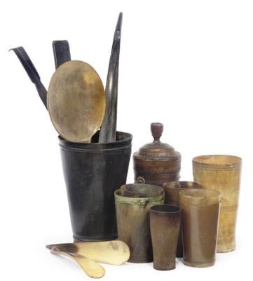 A COLLECTION OF HORN BEAKERS A