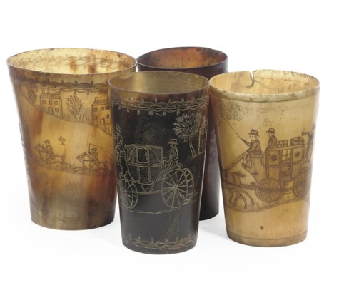 THREE REGENCY HORN BEAKERS