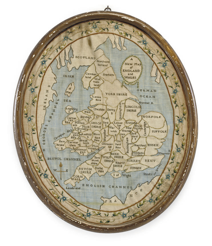 A REGENCY NEEDLEWORK MAP SAMPLER OF ENGLAND AND WALES