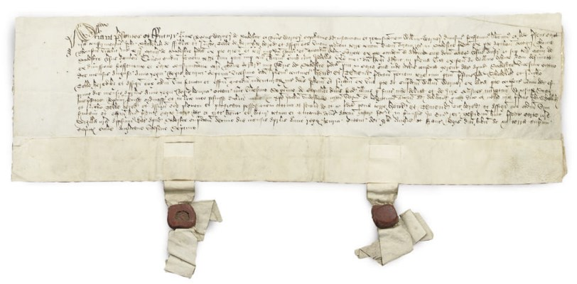 TWO CHARTERS, MANUSCRIPT ON VE