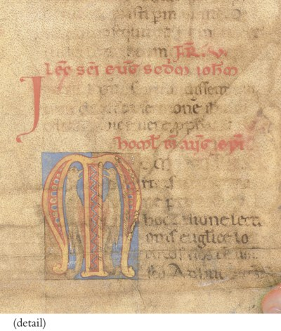 A LEAF FROM A HOMILIARY with i