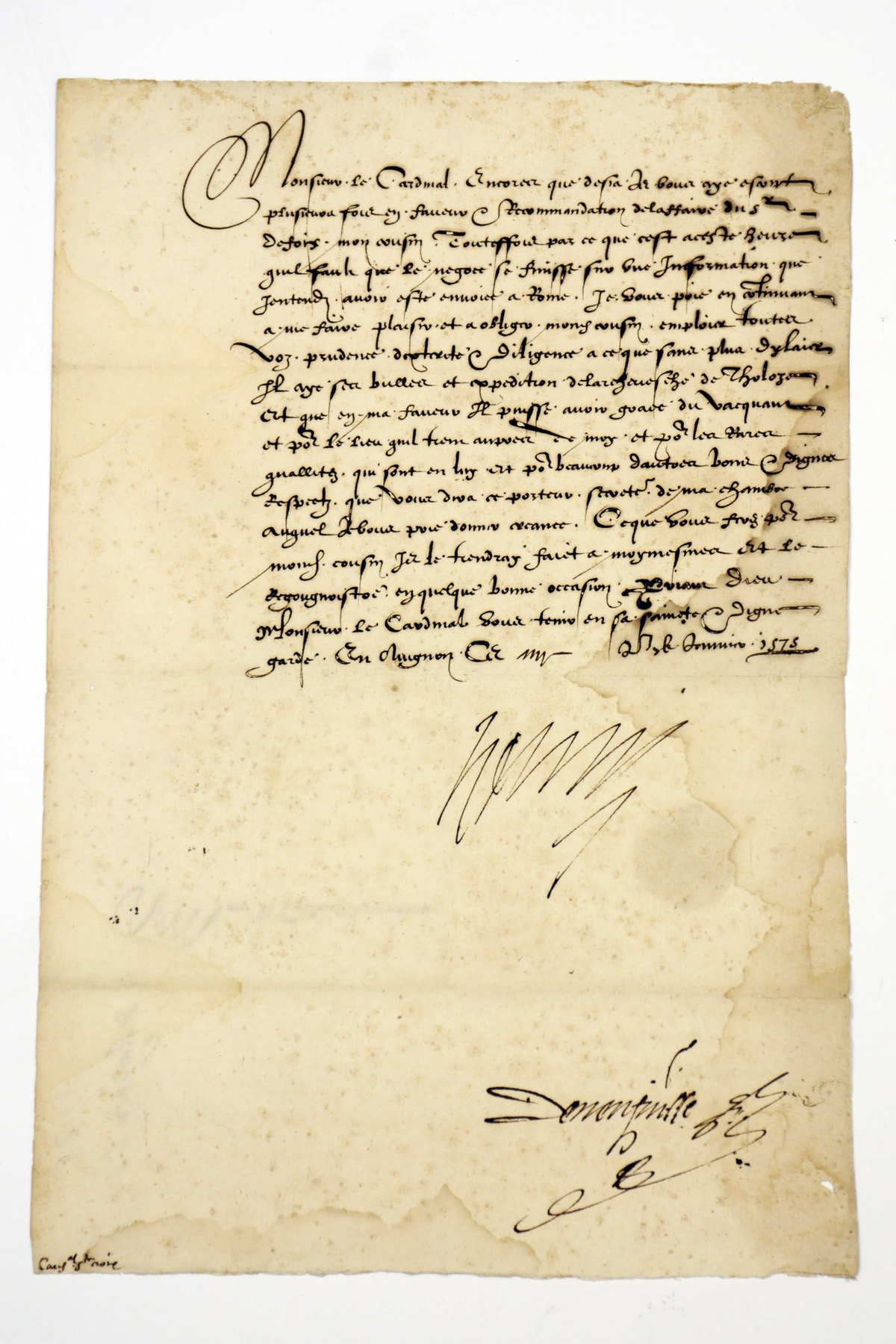 CATHERINE DE MEDICIS (1519-1589), Queen of Henri II of France, mother of François II, Charles IX and Henri III. Letter signed to [Raimond de Veccarie de Pavie, baron] de Fourquevaux, the French ambassador in Spain, Saint Ligier, 2 May [1571], quashing rumours of Charles IX's warlike intentions, emphasising his desire to remain at peace with the Philip II of Spain, and sending congratulations on the news of the Queen's pregnancy, one page, folio, address leaf, traces of seal, contemporary dockets;