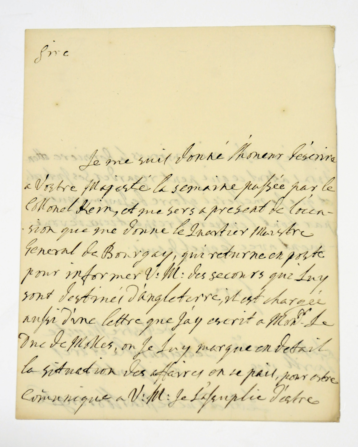 MARLBOROUGH, John Churchill, 1st Duke of (1650-1722). Autograph letter signed ('Marlborough') to [Charles III of Spain], The Hague, 24 April 1709, writing to inform the king of the 'secours qui Luy sont destinés d'Angleterre'; General de Bourgay will bear a letter setting out 'la situation des affaires en se pais', ending with assurances of his attachment, 2 pages, 4to.