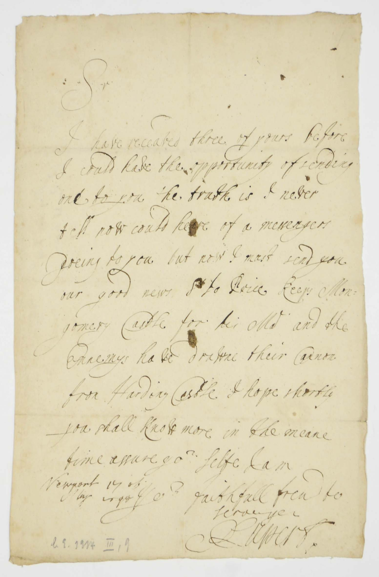 RUPERT, Prince (1619-1682), Count Palatine of the Rhine. Autograph letter signed ('Rupert') to an unidentified correspondent, Newport [Shropshire], 17 May 1645, having been prevented from writing sooner for want of a messenger but now reporting Sir John Price's success at Montgomery Castle and that 'the Ennemys have drawne their Cannon from Harding [i.e. Hawarden] Castle', one page, folio, docket; [with] an autograph letter signed by Queen HENRIETTA MARIA to [Louis XIII of France], [London, after 1625], in French, sending an assurance of her constant affection by 'Monsieur de Saint George' [Sir Henry St George] and desiring to remain in her brother's good graces, one page, 4to. (2)