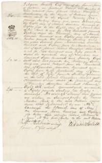 SMITH, Adam (1723-1790). Document signed ('Adam Smith'), Edinburgh, 15 May 1786, acknowledging receipt from [his cousin] Colonel Robert Douglas of Strathendry by the hands of William Lumsdaine, clerk to the Signet, of three sums, to a total of £40, representing a year's interest on two bonds and one obligation to a total of £800, the document in the hand of Thomas Martin, clerk to William Lumsdaine, witnessed by Robert Meldrum and James McGie, clerks, one page, folio, on blind-stamped paper, docketed on verso; with ten other documents relating to the Colonel Douglas and his sons, 1768-1817, most on financial matters, but including two letters from Charles Douglas, one of them from Gibraltar, 1782, about his purchasing an infantry company there.