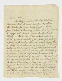 THACKERAY, William Makepeace (1811-1863). Autograph letter signed ('W.M. Thackeray') to his cousin William Ritchie, 1 rue des Beaux Arts, [Paris], [August 1835], including a small drawing of 'Jeanette on the Boulevards', three pages, 4to, integral address panel; [with] an autograph note signed to 'Macpherson', n.d., enclosing, as a contribution to 'Miss Edmonstone's Album', a transcription of 'Horace on Myrtle' in Latin with a mock-translation as 'Titmarsh on Mutton', one page, 8vo, integral blank, laid down; [and] an autograph manuscript signed of a poem, 'Doctor Luther', n.d., 25 lines on one page, 4to, the verso bearing printed heading of Bininger & Cozzens, Importers of Brandies, Wines, Liquors, Segars &c, New York.