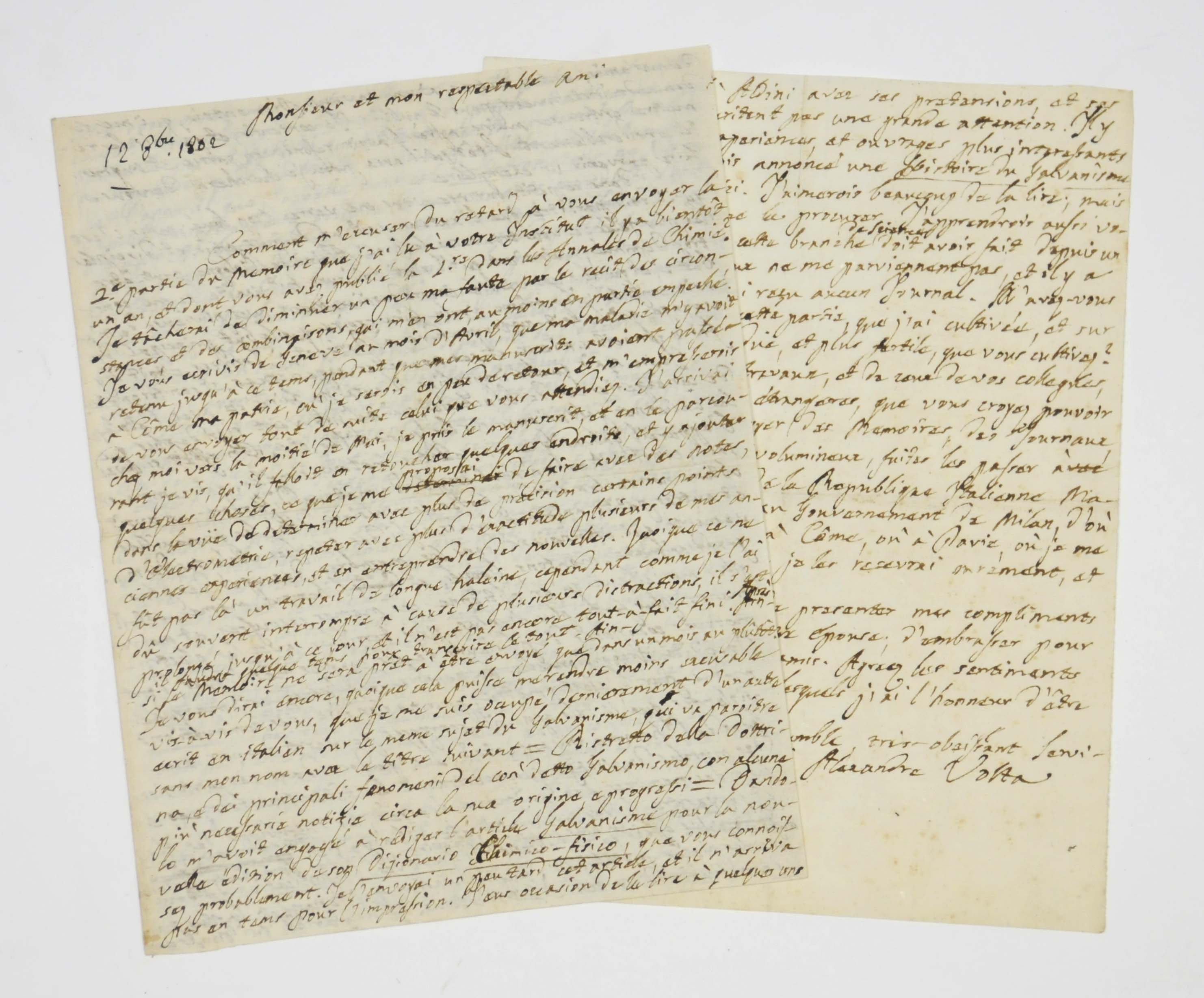 VOLTA, Alessandro (1745-1827). Autograph letter signed to an unidentified correspondent [Claude-Louis Berthollet], Como, 12 October 1802, in French, 5 pages, small 4to.