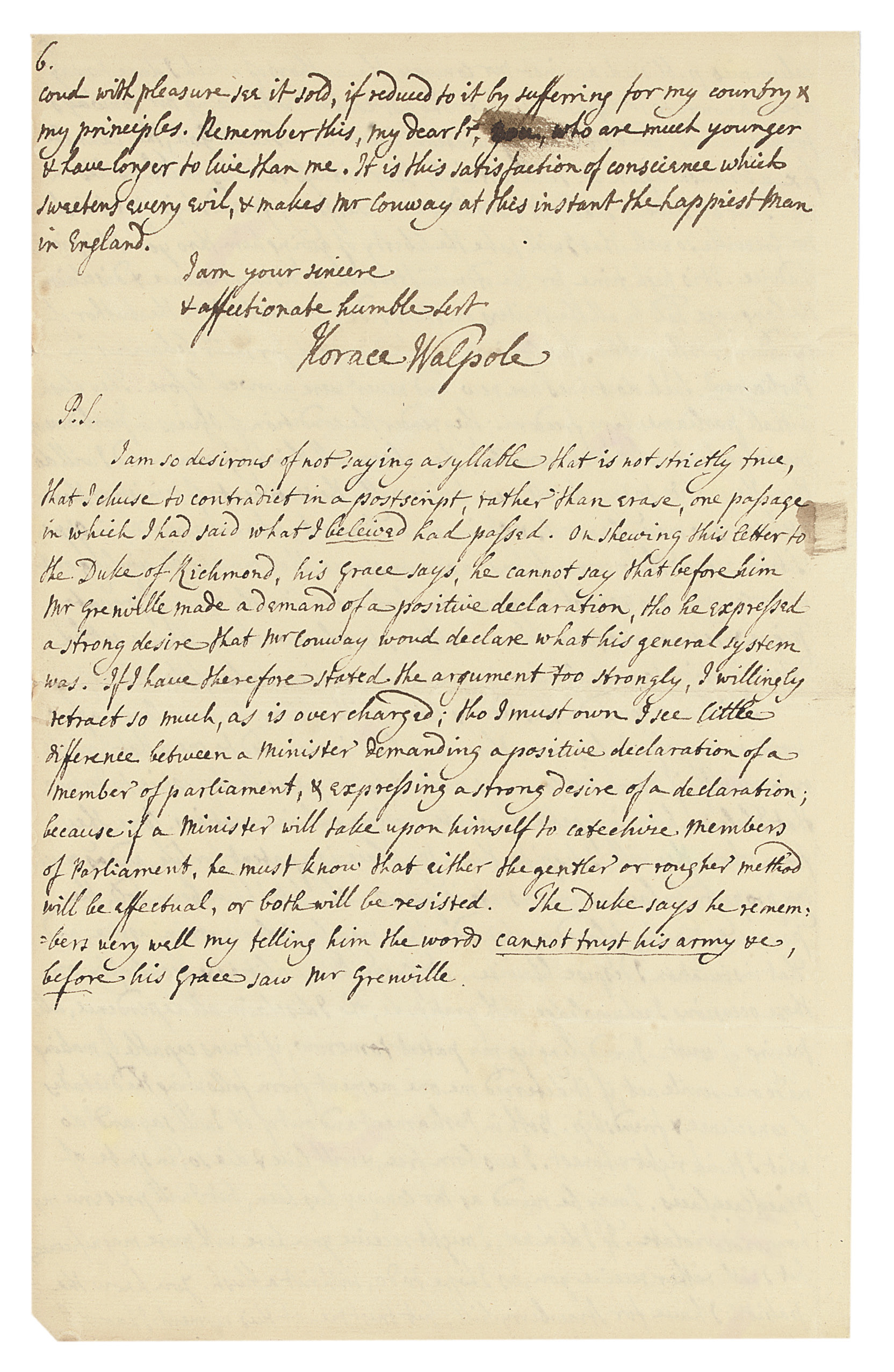 WALPOLE, Horace, 4th Earl of Orford (1717-1797). Autograph letter signed ('Horace Walpole') to [Thomas Pitt, 1st Baron Camelford], Strawberry Hill, 5 June 1764, in brown ink, including a long postscript on the last page, 6 pages, folio, integral leaf. Provenance: Thomas Pitt to George Grenville; Grenville papers deposited at Stowe; sold by 2nd Duke of Buckingham and Chandos to Edwin James (his attorney) who sold the letter to John Murray, 1851; Sotheby's sale, 11 May 1970 (lot 231).