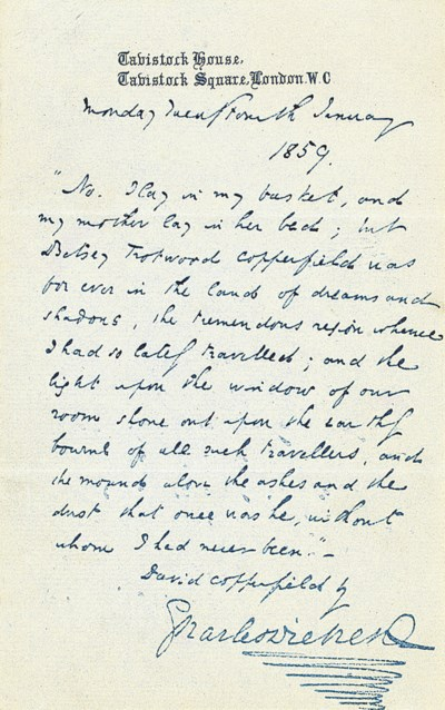 DICKENS, Charles. Autograph qu