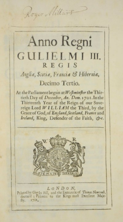 I ANNE, 30 December 1701. An A