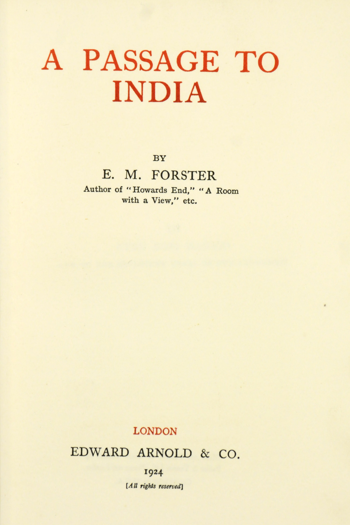 FORSTER, E. M. (1879-1970). A