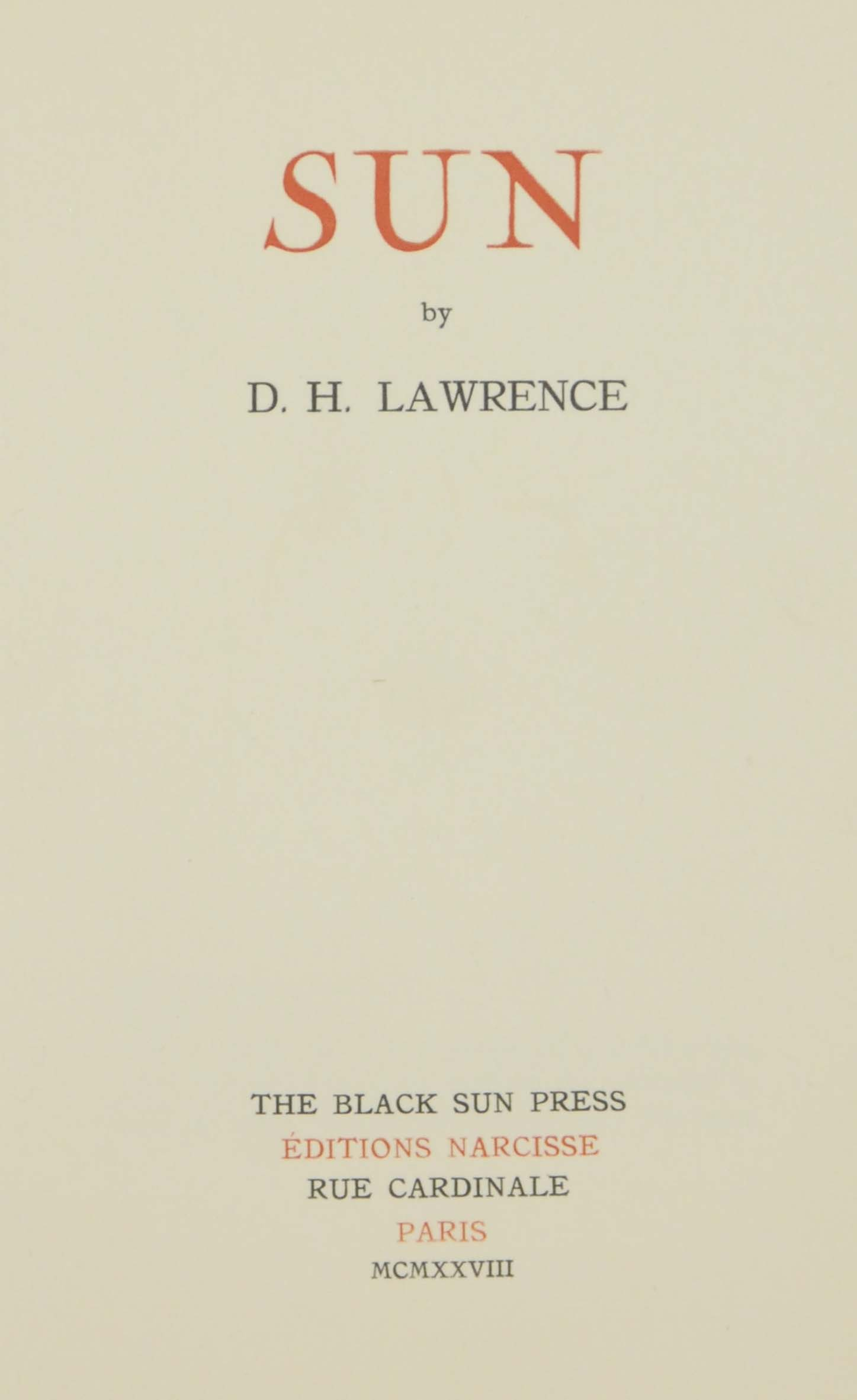 LAWRENCE, D.H. (1885-1930). Su