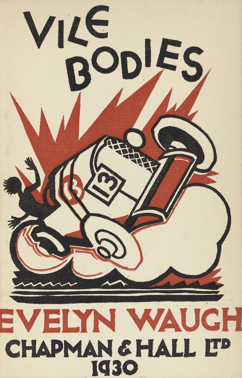 WAUGH, Evelyn (1903-66).  Vile Bodies. London: Chapman & Hall, 1930. 8° (187 x 129mm). Half title, title in red and black (very light marginal browning). Original cloth, lettered in gilt (head and tail of spine a little bumped), dust-jacket (head and tail of spine torn away, spine repaired on verso, upper extremities of dust-jacket a little creased). FIRST EDITION of Waugh's second novel.