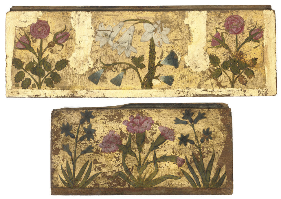 TWO PAINTED GILT WOOD PANELS F