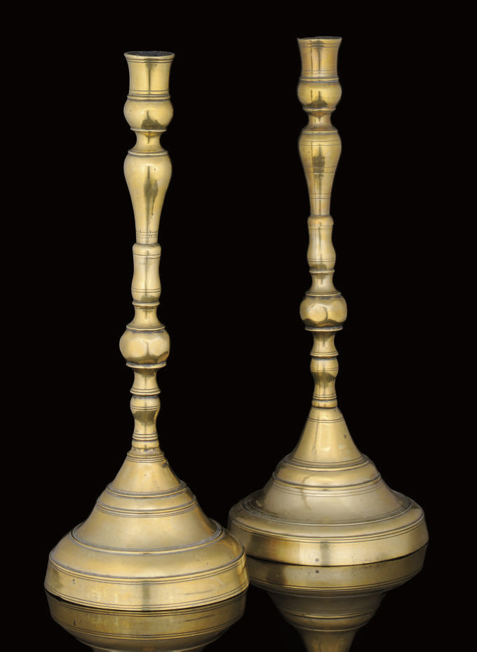 A PAIR OF OTTOMAN SPUN BRASS C