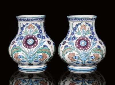 A PAIR OF IZNIK STYLE CERAMIC