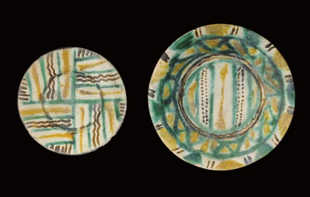 TWO NISHAPUR SPLASHWARE PLATES