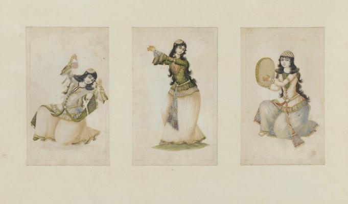 THREE QAJAR PORTRAITS OF FEMAL