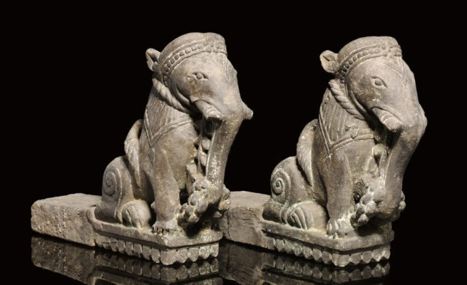 A PAIR OF STONEWARE ELEPHANT A
