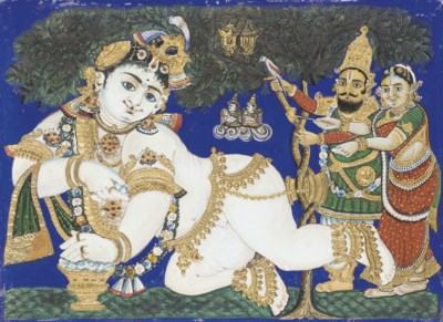 TWO TANJORE PAINTINGS, 19TH CE