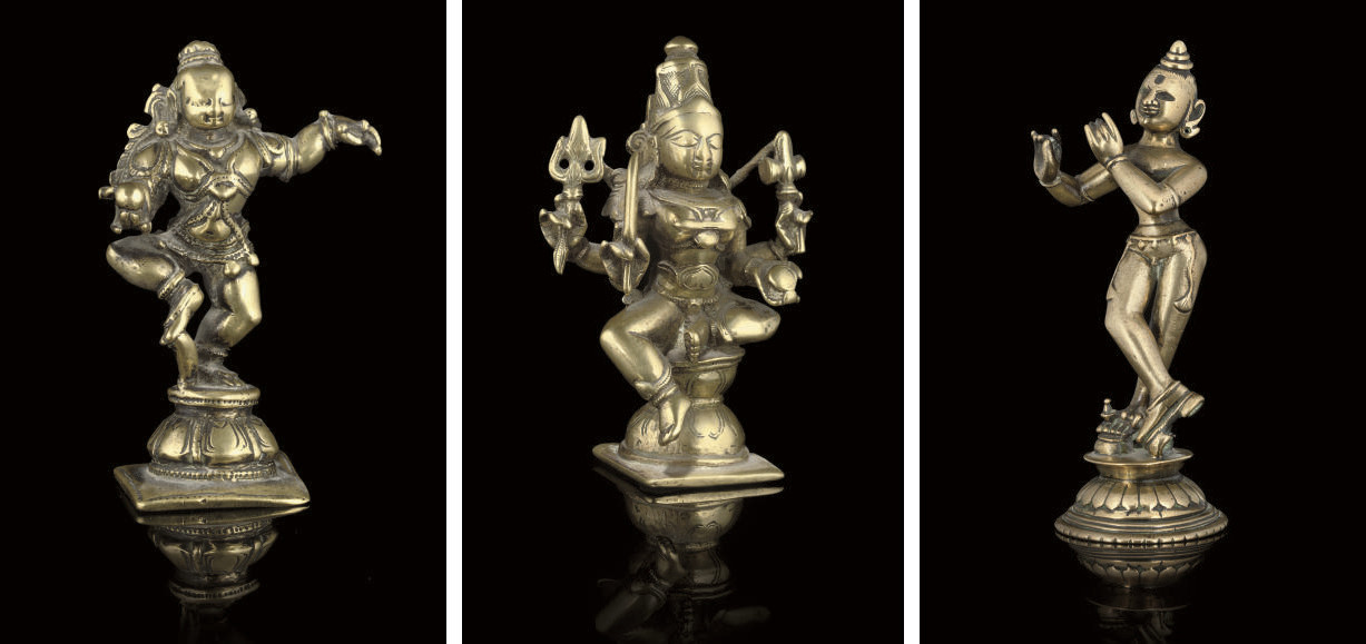 A GROUP OF THREE INDIAN BRONZE