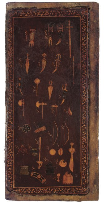 A LACQUER PANEL WITH VARIOUS I