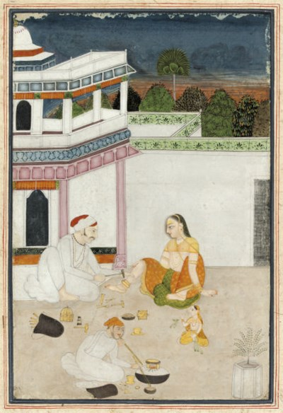 A GOLDSMITH FITTING AN ANKLET,