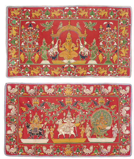 A PAIR OF TEMPLE BANNERS