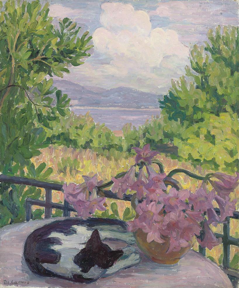 Le chat aux lys roses