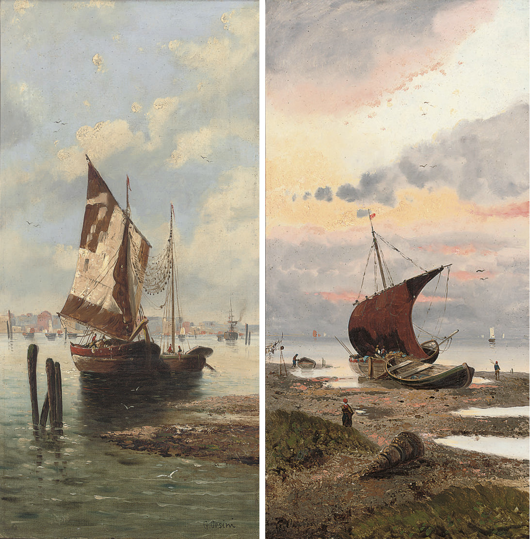 Fishing boats on the Venetian coast; and Unloading the catch at dusk