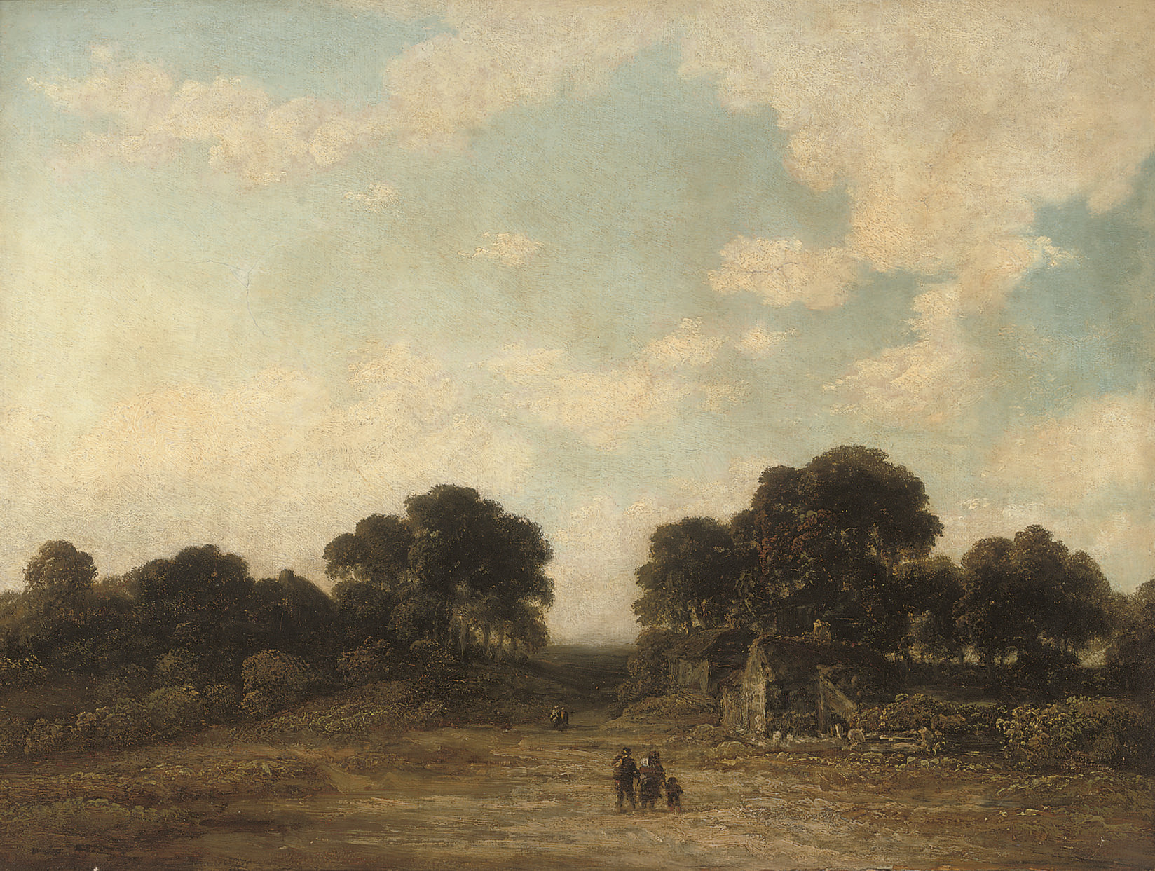 Figures on a country path