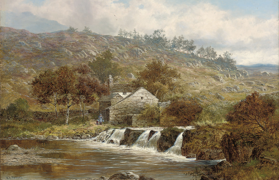 Figures beside a cottage beside a river