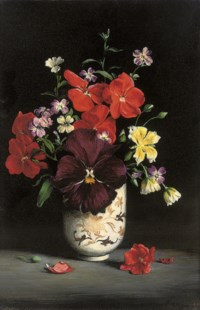 A pansy, geraniums, limnathes and virginia sticks