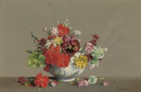 Pansy, Scarlet Geraniums, Geranium leaves, Anthemis, Yellow flowers and aurelia