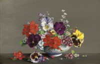 Pansies and other flowers in a bowl