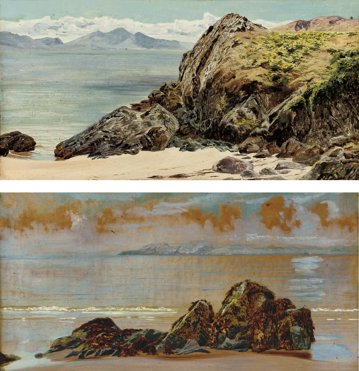 The rivals, Llanddwyn; and Rocks on a beach