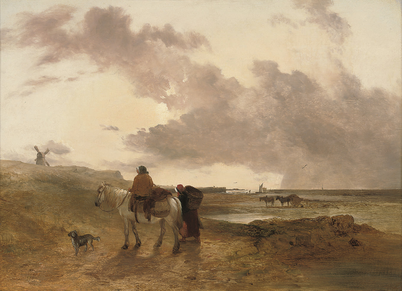 Figures and horses on a beach