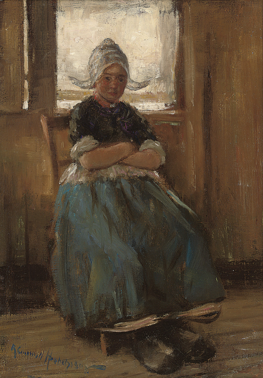 A Dutch girl seated in a cottage interior